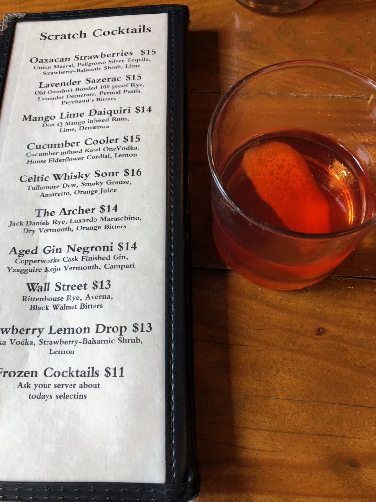 The Whiskey Bar Menu